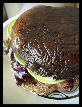 burger | Sun-roasted portobello burger with yellow ...