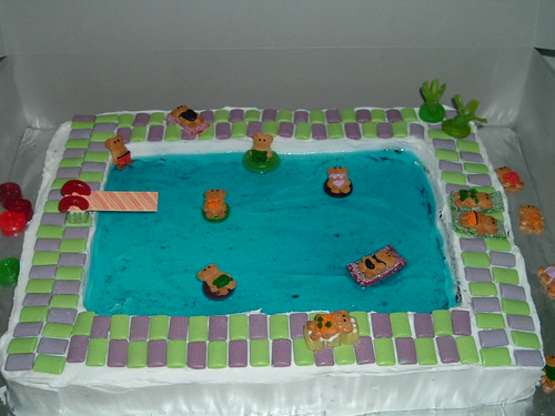 Swimming pool cake more detailed info at flickr for Swimming pool birthday cake pictures