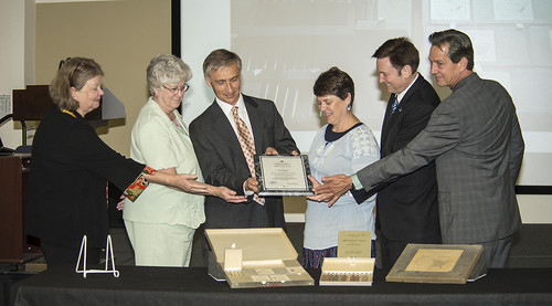 Susan Fugate, Head of Special Collections, NAL; Sally Schneider, ARS Deputy Administrator, Natural Resources & Sustainable Agricultural Systems; Stan Kosecki, Acting Director, NAL; Jill Guenther, Schoolteacher and others