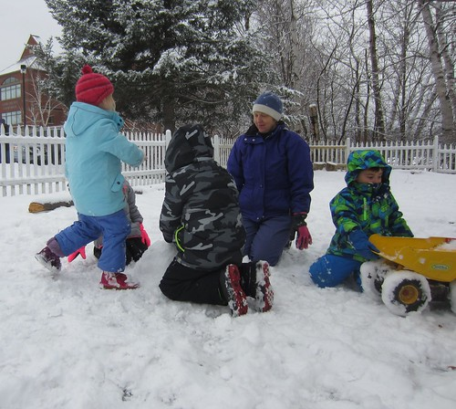 using lots of pressure to build a snow man