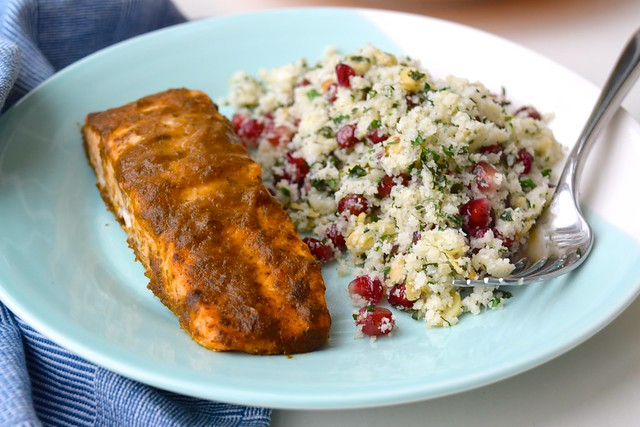 Quick Curried Salmon with Cauliflower Tabbouleh with Funky Elephant Curry Paste | www.rachelphipps.com @rachelphipps