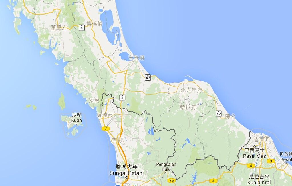 泰國南部地區:北大年府、惹拉府、陶公、沙敦。(圖片來源:Google map)