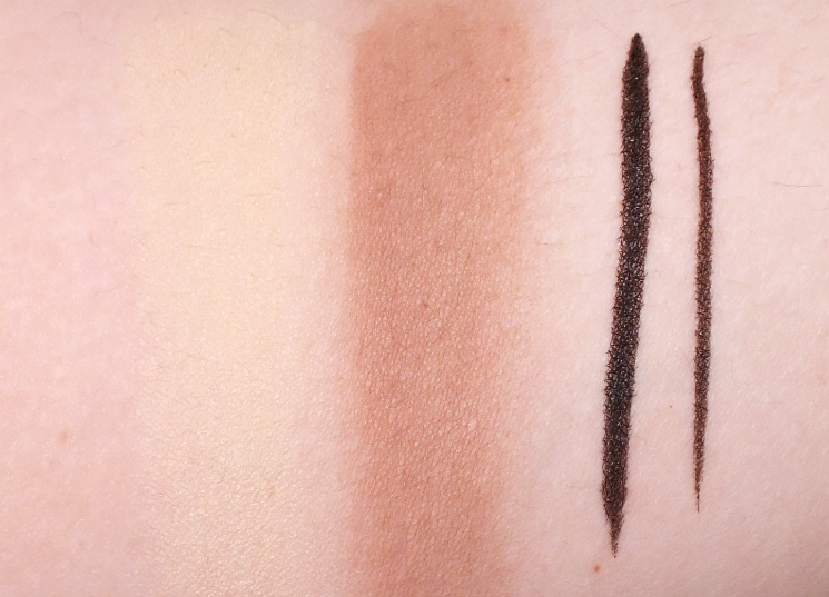 rodial swatches banana powder dark contour liquid liner