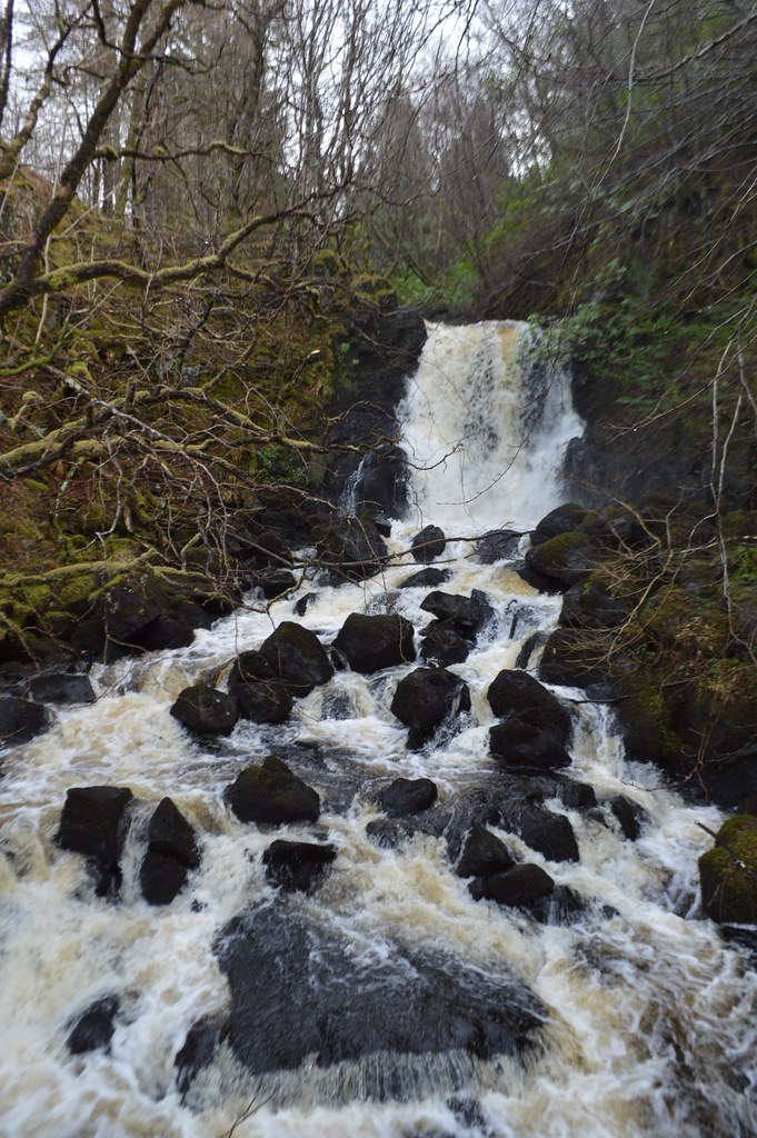 this is a picture of the aros burn waterfall in aros park