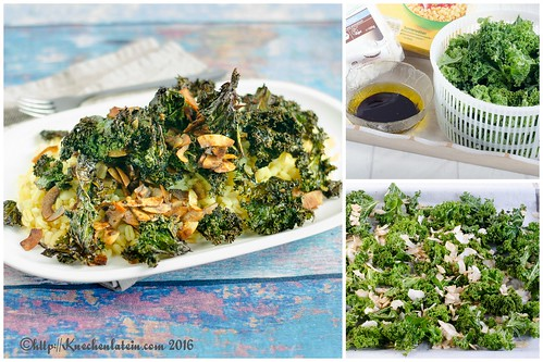 Curly Kale Salad with Toasted Coconut Collage