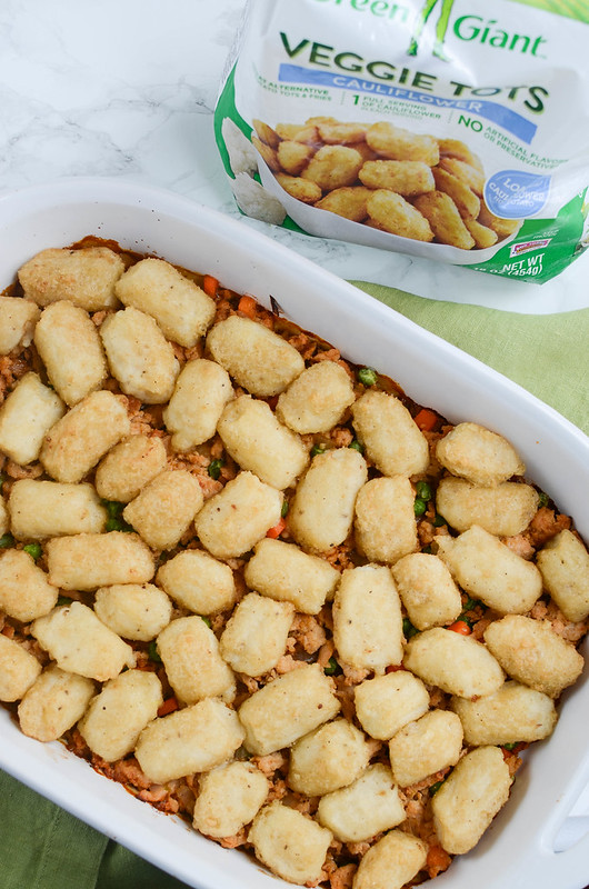Cauliflower Tots Shepherd's Pie - a healthier twist on shepherd's pie! Ground turkey and veggies in gravy with cauliflower tots on top!