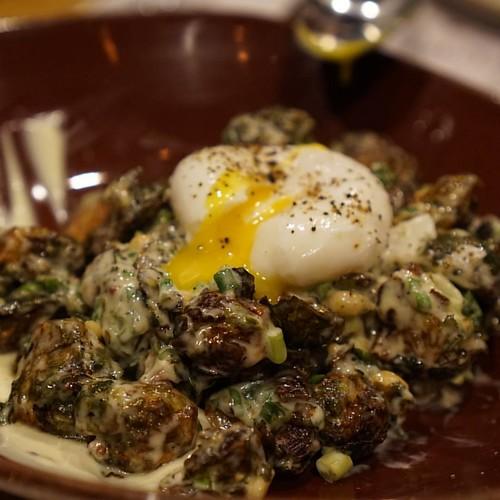 Crispy brussel sprout salad : frisee, mustard creme fraiche, hazelnut ...