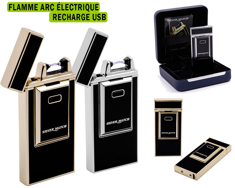 briquet electrique usb silvermatch arc neuf 2 couleurs dispo ebay. Black Bedroom Furniture Sets. Home Design Ideas