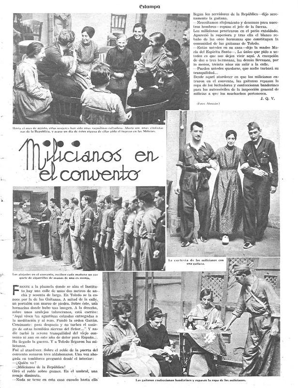 Reportaje sobre las Monjas del convento de las Gaitanas que dejaron los hábitos para colaborar con las milicias republicanas. Publicado en Estampa el 3 de octubre de 1936.