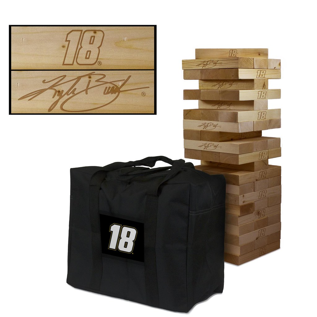 KYLE BUSH JR #18 Wooden Stained Tumble Tower Game