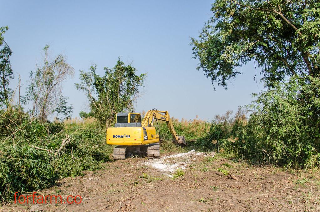 จ้างรถแบ็คโฮ ปรับปรุงที่รกร้าง มาเป็นฟาร์มเกษตรสมัยใหม่