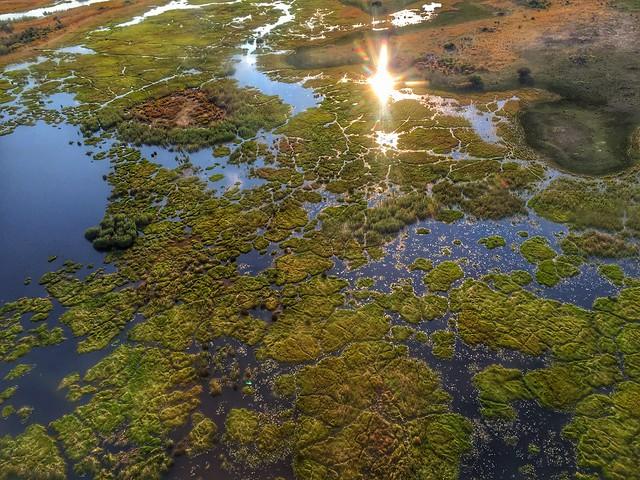 Vista del Delta del Okavango desde una avioneta