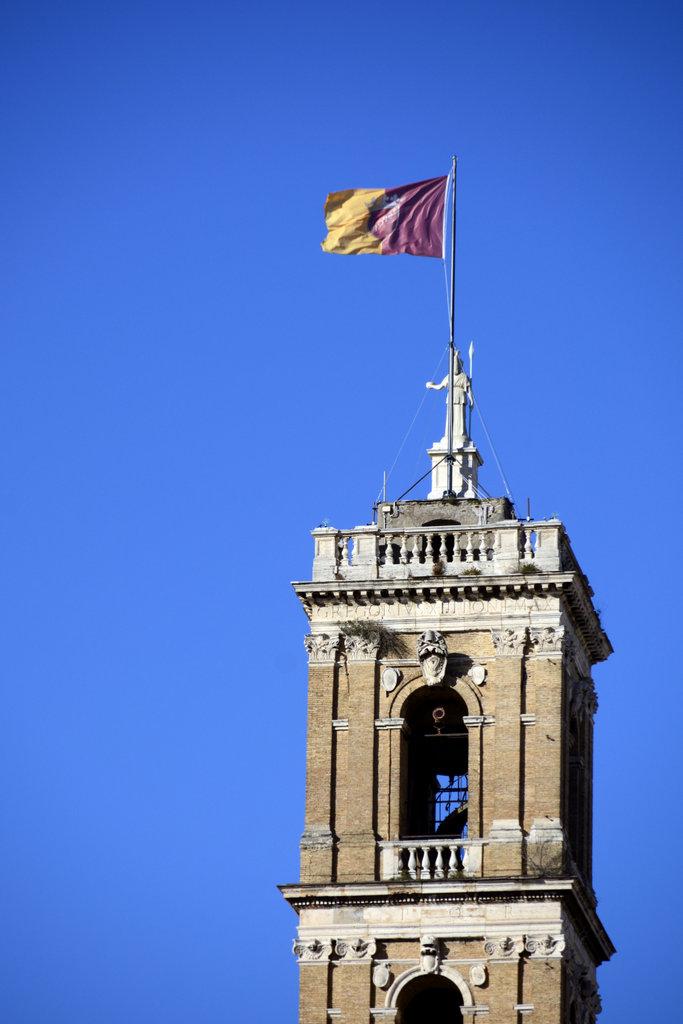 Roman flag over the Campidoglio