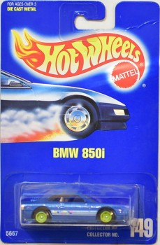 1991 Hot Wheels BMW 850i Collector Number 149