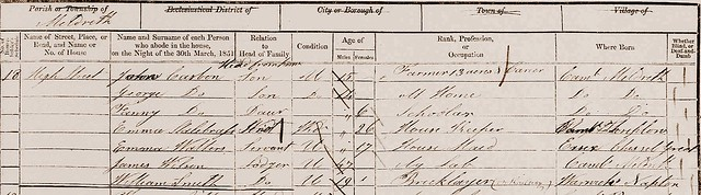 John C b abt 1835 1851 census Meld