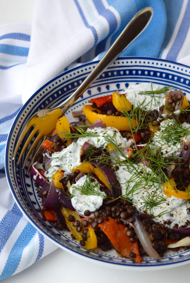 Roasted Vegetable Lentil Bowl with Herby Goats Yogurt | www.rachelphipps.com @rachelphipps