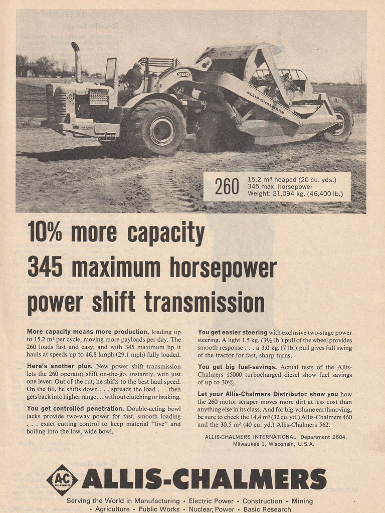 1963 Allis Chalmers 260 Scraper Ad - USA | Covers the 1963 A… | Flickr