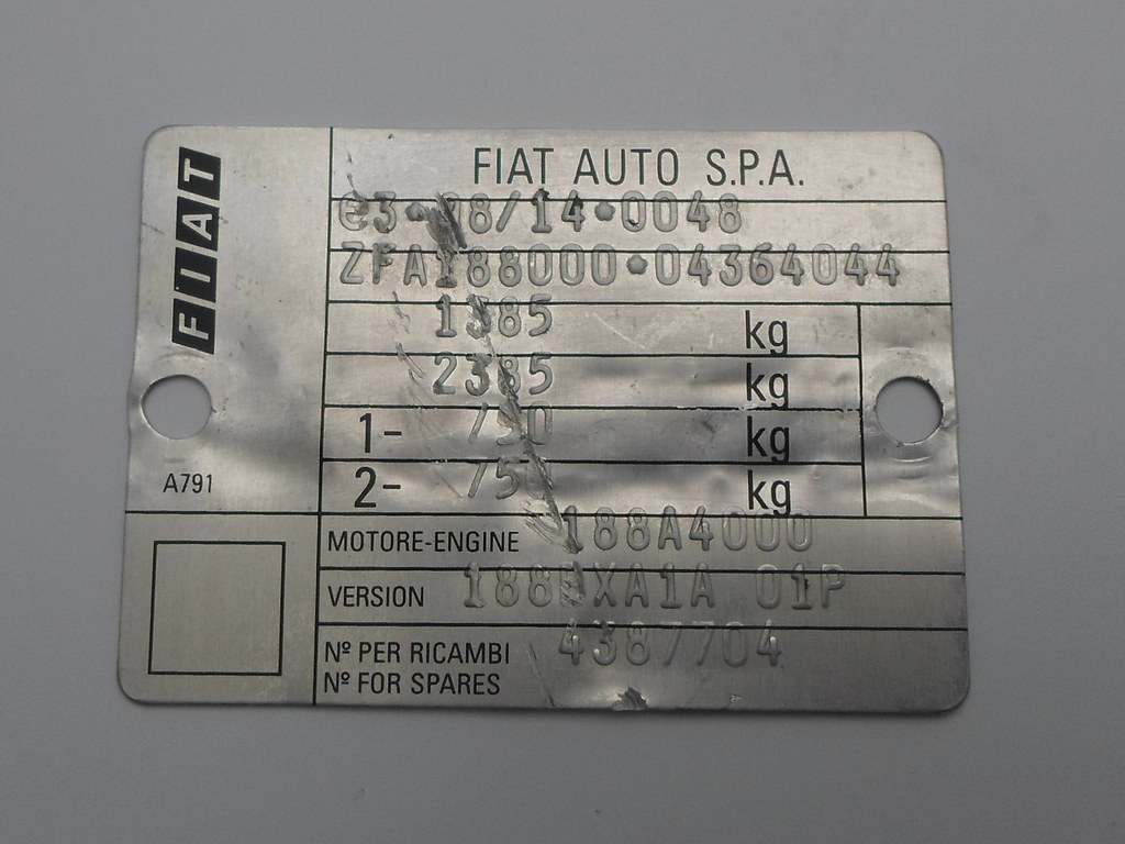2003 Fiat Punto serial number plate (VIN) | Photo for junkya… | Flickr