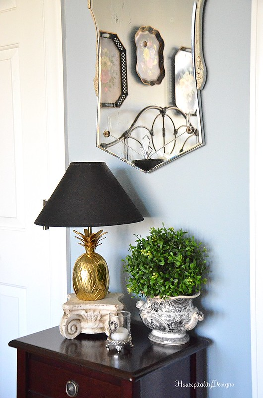 Guest Room-Side Table-Black and White transferware-Housepitality Designs
