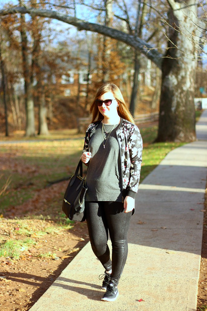 Glam sneakers, faux leather leggings, and floral bomber 1