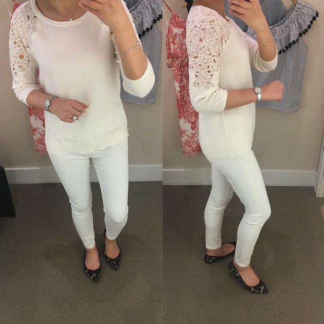 LOFT Floral Lace Shoulder Sweater, size XS regular