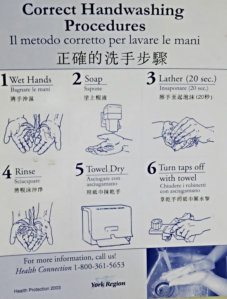 Trilingual Hand Washing Instructions In The Washroom At Th Flickr