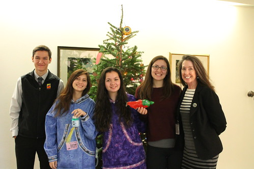 Chugach Children's Forest Alumni highlighting marine debris ornaments with Associate Chief Mary Wagner