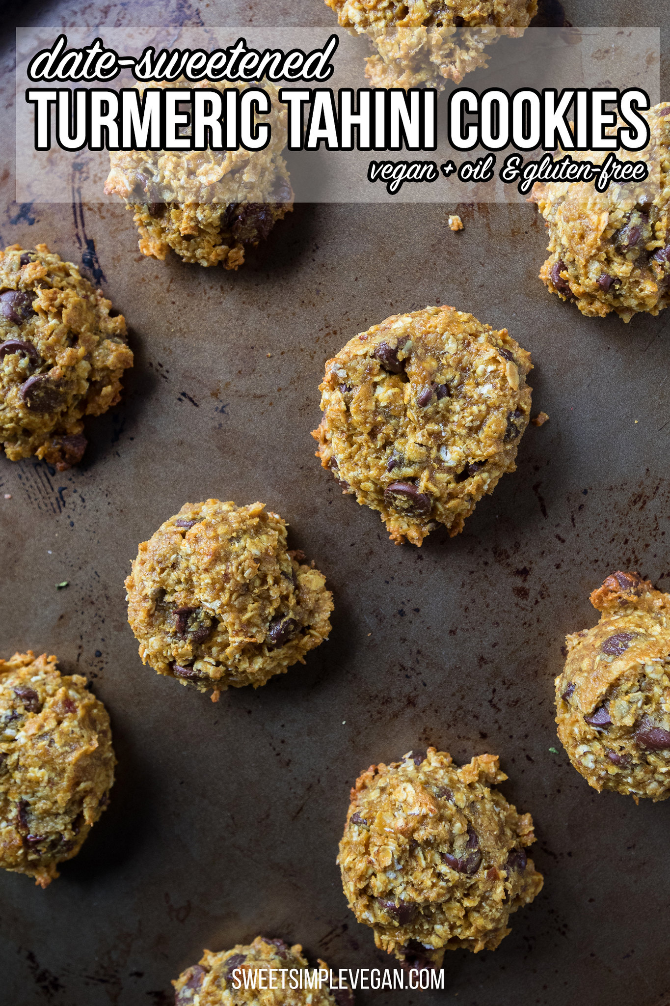 Date-Sweetened Turmeric Tahini Chocolate Chip Cookies {gluten, oil and refined sugar-free}