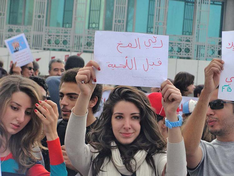 Witty & funny protest signs #26: Tunisian Protester - The Sign Says Grow The Brain Before The Beard