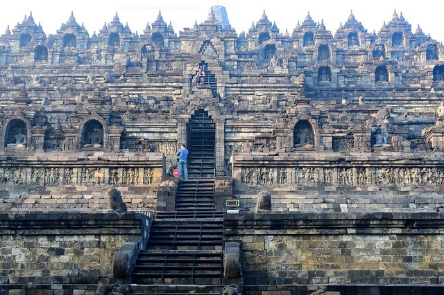 Borobudur Temple consists of six square platform, three circular platforms with the grand central stupa at the top