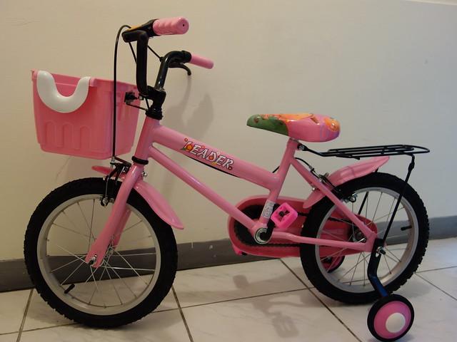 鹿姐的新車!@Adagio 16吋卡布奇諾打氣胎童車附置物籃-粉色(BEYJ179P)