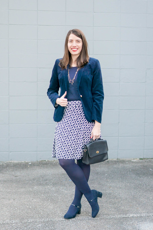 navy cord blazer J.Crew + navy tee + loft blue and white diamond print skirt; winter work outfit | Style On Target blog