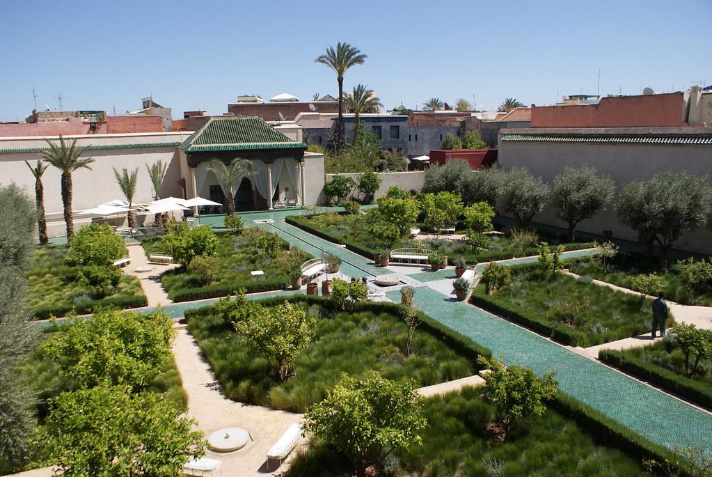 Vue sur le jardin islamique du jardin secret de Marrakech.