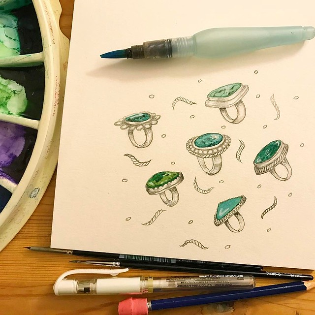 Day 26 #patternjanuary #turquoise and decided to channel pal @ohsoniceshop and sketch a bunch of turquoise rings.