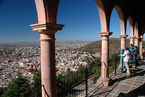 View through the arches of the building atop the Bufa, the highest point in Zacatecas, Mexico