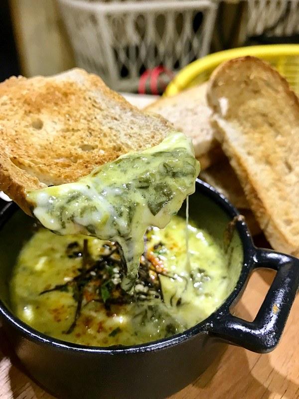 Le Petit Souffle - Baguette with Spinach Artichoke Dip