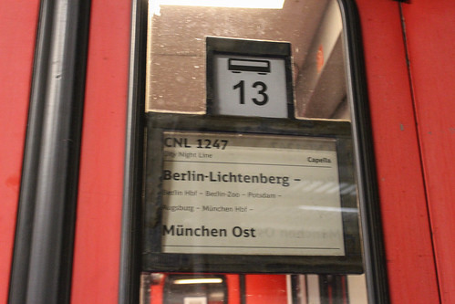 "CityNightLine ""Capella"" to München Ost at Berlin-Lichtenberg train station 