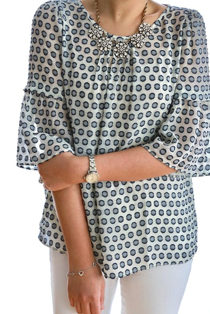 Ann Taylor Dot Flounce Sleeve Blouse, size XSP