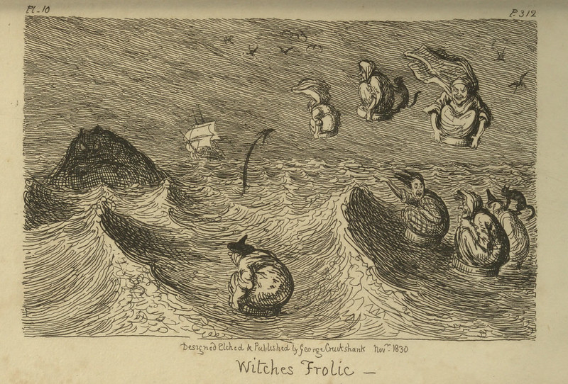 "George Cruikshank - ""Witches Frolic"" Illustration from ""Letters On Demonology And Witchcraft"" by Walter Scott, 1830"