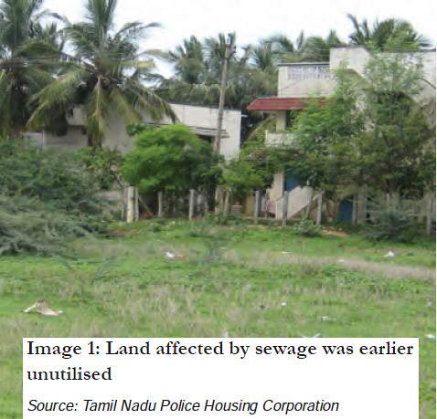 Land affected by sewage