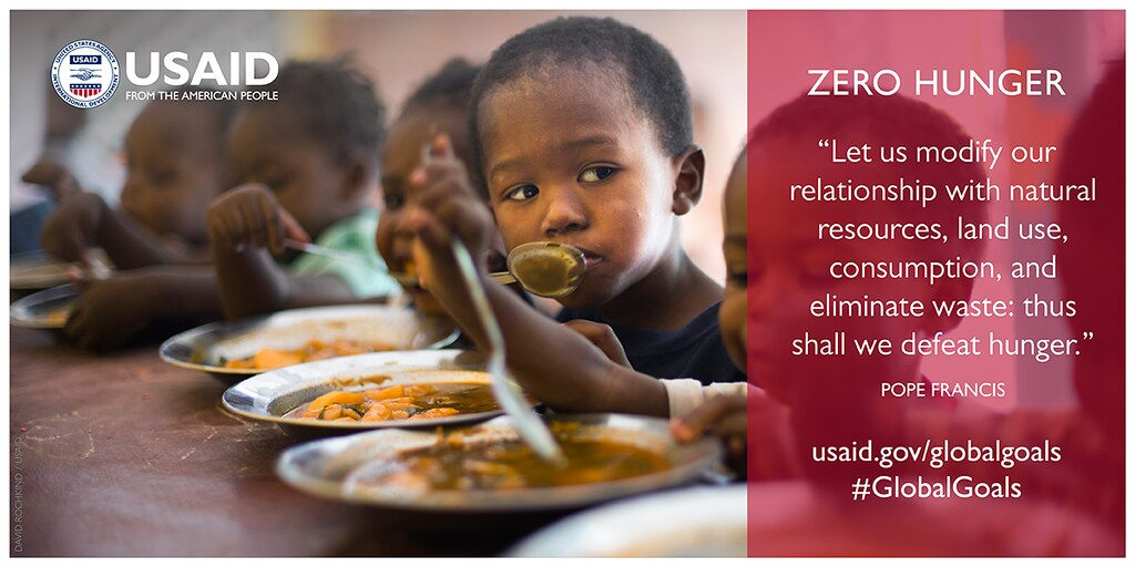 """Picture of young children eating soup at a table.  Title is Zero Hunger.  Caption is """"Let us modify out relationship with natural resources, land use, consumption, and eliminate waste, thus shall we defeat hunger."""" Pope Francis. Includes website www.usaid.gov/globalgoals and Twitter #GlobalGoals"""