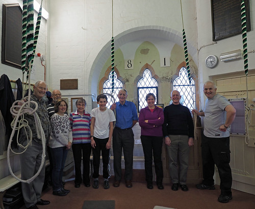 Photo of bellringers at St James, Barrow, with Jennie Dennet from BBC Radio Cumbria in centre of picture