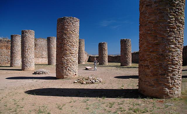 Columns in La Quemada, Meso-American ruins near Guadalajara, Mexico