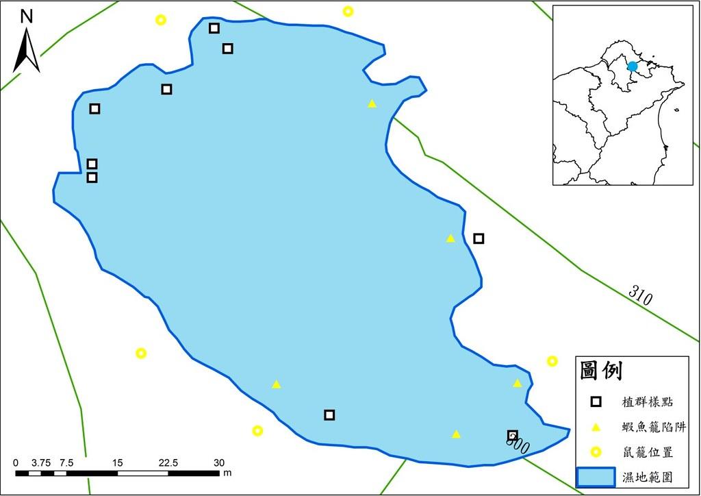夢湖地形圖。資料來源:邱郁文。