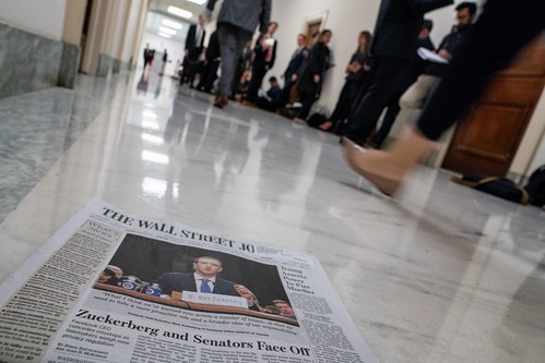 Yesterday's news & waiting for today's news to show up. Facebook: Transparency and Use of Consumer Data hearing, Rayburn House Office Building, Washington DC | by Lorie Shaull