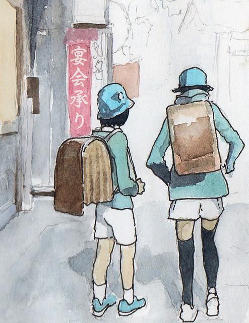 Two schoolchildren, Tokyo