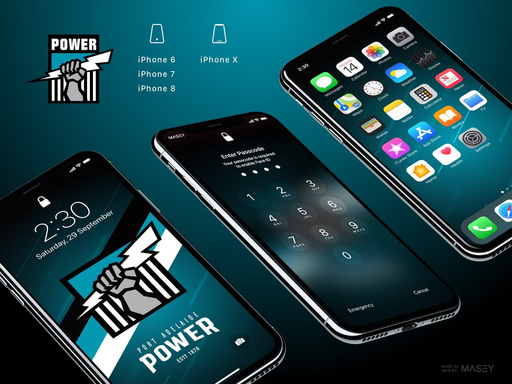 Port Adelaide Power iPhone Wallpaper