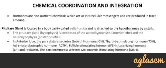 Important Notes of Biology for NEET: Chemical Coordination and Integration