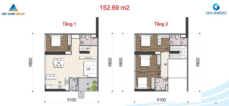 Gem Riverside thiết kế mẫu Duplex Villa - Penthouse 6