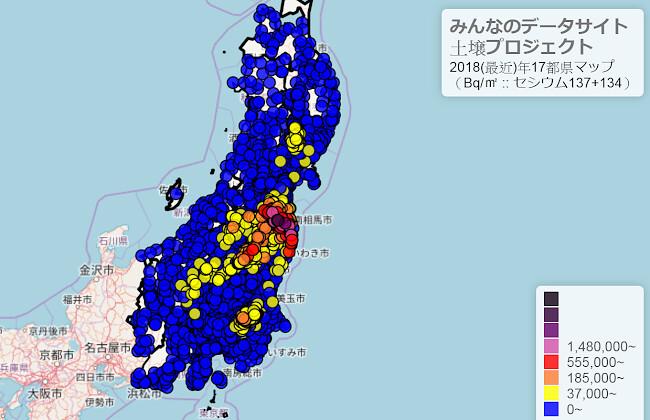 民間土壤檢測數據圖,超過車諾比標準(37,000貝克/平方公尺),為放射線管理區域的部份,用黃色以上來表示。關東不少地方皆是如此。(出處:https://goo.gl/1RMFHX )